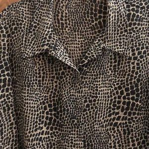 Leopard long sleeve tunic blouse SZ L